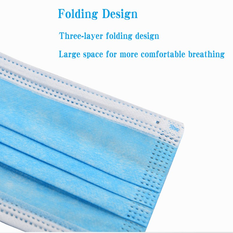 50PCS 3-layer Disposable Masks Safe Breathable Mouth Face Mask Disposable Ear loop Face Masks CE Certified Personal Protection