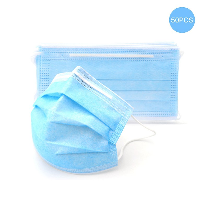50 pcs Face Mask Protection Medical Mask Surgical Masks Nonwoven ISO Certification Waterproof Carrying High Quality Blue